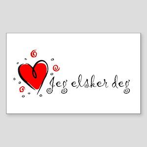 """I Love You"" [Norwegian] Rectangle Sticker"